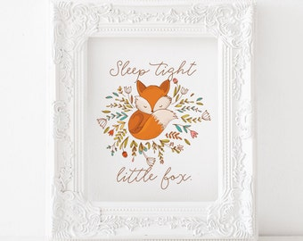 Fox print, Fox printable, Fox decor, Fox art, Fox nursery print Fox kids room print, sleep tight little fox, sleep tight print, little fox