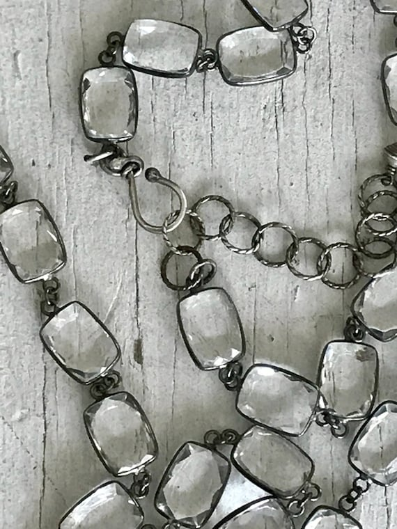 Smitten. Rectangular crystals set in antiqued sterling in one continuous chain by ladeDAH! Jewelry.