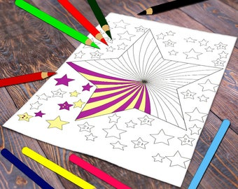 stars coloring page, adult coloring printable, coloring sheet, happy coloring poster, art therapy, digital stamp, instant download