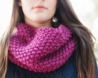 Pink Chunky Knit Cowl Scarf – Chunky Cowl – Infinity Cowl - Warm Scarf - Pink Cowl for Women – Cowl for Adults – Fall Accessory