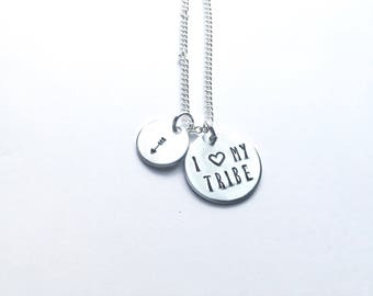 I Love My Tribe hand stamped necklace