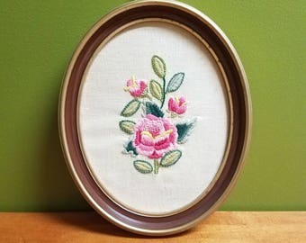 Rose Crewel in an Oval Frame