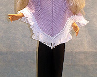 18 Inch Fashion Doll Clothes - Purple Poncho Outfit made by Jane Ellen to fit 18 inch fashion dolls