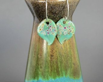 Aqua Mist Lampwork Glass Earrings - Handcrafted - Sterling Silver - Leaf Shape