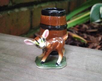 Vintage Woodland Fawn Toothpick Holder  - Retro Baby Deer & Barrel Figurine - Mini Ceramic Planter / Home Decor - New House / Holiday Gift