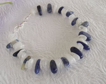 Blue Sodalite and White Moonstone Nuggets Bracelet with Sterling Silver Lobster Clasp