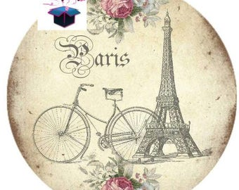 1 cabochon clear 20mm France travel theme