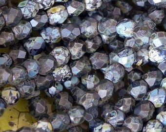 3mm Faceted Firepolished Round Beads - 50 pieces - 907 - Matte Jet Picasso