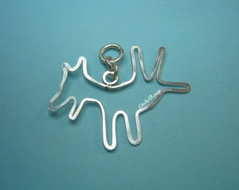 Happy dog sterling silver pendant