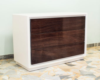 White Chest of Drawers in Rosewood