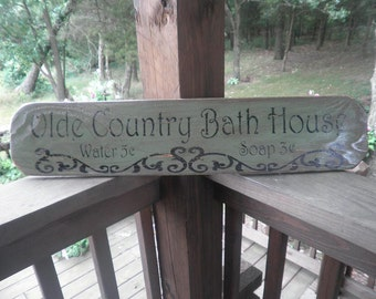 sign, primitive, rustic, bathroom sign , green distressed, rustic home decor, primitive home decor