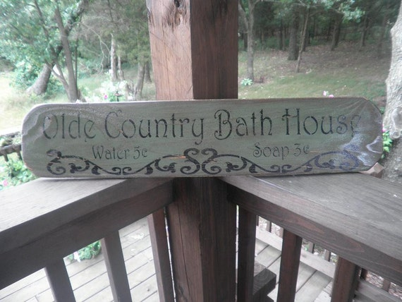 Sign Primitive Rustic Bathroom Sign Green Distressed