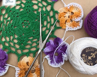 Vintage Green Pansy Crochet Doiley - Circular Bright Floral Doily - Vintage Afternoon Tea - Vintage Colourful Wedding Decor by Daisies Blue