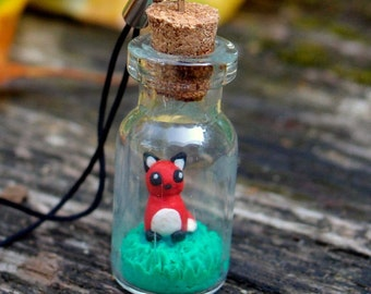 bottle charm, polymer clay fox, bottle necklace, polymer clay jewelry, fox necklace