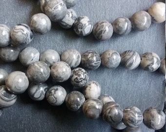 8mm Natural Scenery Jasper Round Gemstone Beads - Full 15.5 inch strand