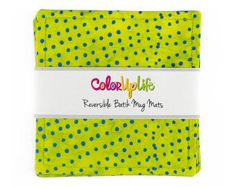 Fabric Coasters - Set of 4 - Lime Dot - mug mats - reversible coasters - stocking stuffers - hostess gift