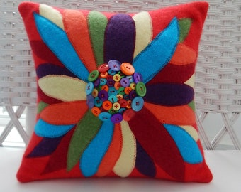 Recycled Cashmere Cardigan Sweater Large Flower Pillow with Buttons for Center - Red, Blue, Purple, Orange, Yellow and Turquoise