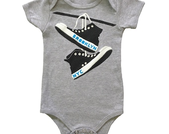 Brooklyn Converse - Baby One Piece Bodysuit New York Retro Cute Shoes BKLYN NYC Hipster Romper Jumper Grey