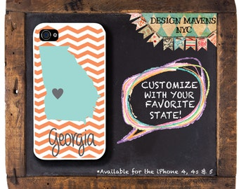 Personalized iPhone Case, State Love Georgia Chevron iPhone Case, iPhone 4, iPhone 4s, iPhone 5, iPhone 5s, iPhone 5c, iPhone 6, Phone Cover