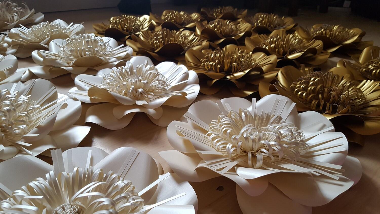 Paper flower backdrop cream and gold wedding zoom junglespirit Gallery