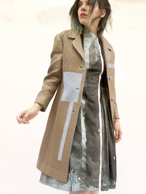 Spring Light Brown Hand-painted LOLA DARLING Overcoat Light Blue Stripes Leather Effect Unique Art Work Clothing Made with Care in Italy