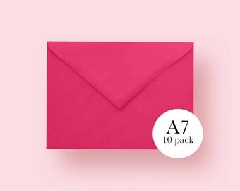 5x7 Hot Pink Envelopes | A7 Hot Pink Envelopes | Set of 10