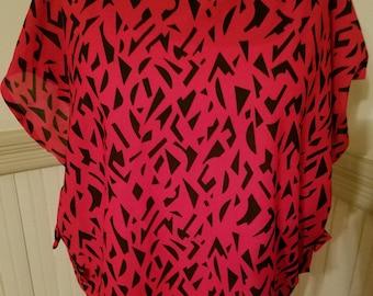Vintage 80's Blouse Red & Black
