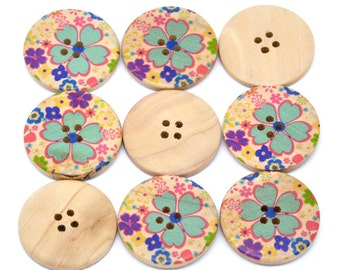 5 Floral (1) Painted Wood Button Four Hole Natural Wood Colour 30mm - 5 Pack NPB19