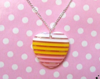 Retro Heart Necklace - stripey heart, white, yellow, pink, kitsch necklace, jewelry, striped, stripy