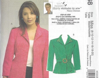 McCall's M5668  - UNCUT Nancy Zieman 30 minutes to sew Misses' Jackets Sewing Pattern - Sizes: 8-20