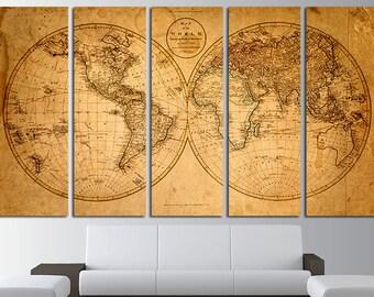 World Map Canvas Print Wall Art Set World Map World Map Print World Map Poster Wall Art Canvas Extra Large World Map Wall Decor Art Canvas