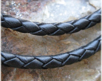 Black Leather Cord Necklace - 18 Inch - Sterling Silver Clasp