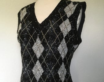 Vintage black beaded silk blouse, argyle beaded top, sleeveless v neck, 80s 90s silk top, beaded tank top black white silver, M medium 36""