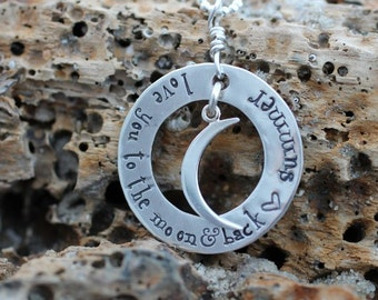 love you to the moon and back, hand stamped sterling, necklace with names