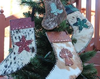 Cowboy Plaid Christmas Cowhide Stockings