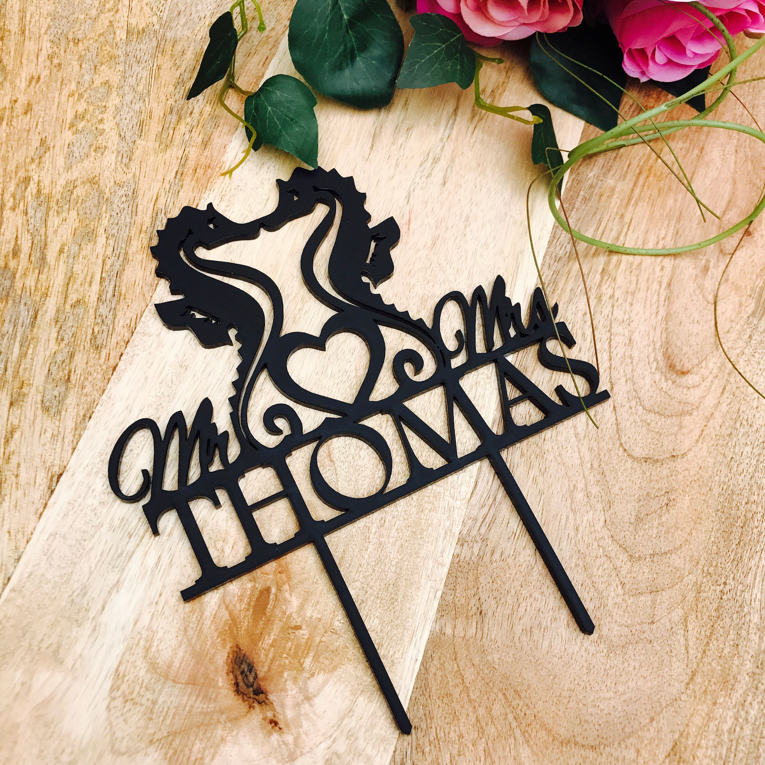 Seahorse Cake Topper Surname Personalised Wedding Cake Topper ...