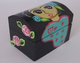 Mexican Black Trinket Box Frida Mexico Wood Jewelry Box Handpainted Folk Art