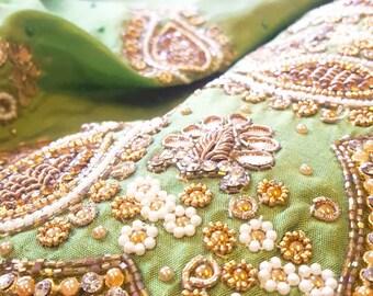 Green Embellished Silk Saree