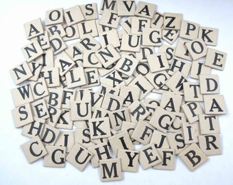 Vintage Ivory and Black Anagrams Letter Tiles or Game Pieces Set of 108