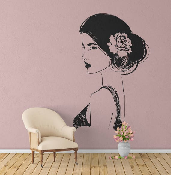 Artistic mural of a Girl with a Rose on her hair, Vinyl wall decal, Artistic mural collection for wall decor, Home Improvement Ideas