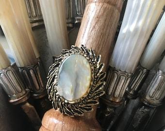 Abalone Slice Wreath Adjustable Vintage Base Statement Ring