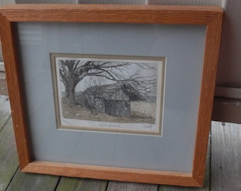 John Collette Vintage Colorized Etching!