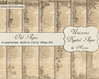 PATTERN OLD PAPER, Carta digitale, Craft, Carte per scrapbook, scrapbooking, Cartonnage, Papercraft, Vecchie carte, shabby, Retrò, vintage