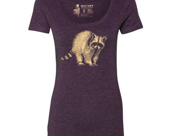 Raccoon Tri-blend Scoop Neck T-Shirt, 10% donated to animal causes