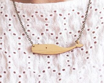 Laser Cut Wooden Sperm Whale Necklace