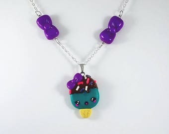 Cute Kawaii Popsicle Charm Necklace with Bows and Sprinkles for Girls Teens Tweens Women Handmade with Polymer Clay