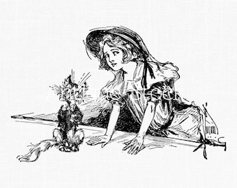 White Rabbit Vintage Image Clipart Alice in Wonderland Drawing