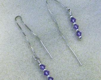 Swarovski Amethyst Kristall Ohrringe - handgefertigte Sterling Silber Ohr Threads durch JewelryArtistry - E635