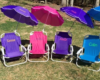 Child's PERSONALIZED Beach Chair with umbrella. Sand chair, beach chair, folding chair, child, umbrella, name, initials, monogram