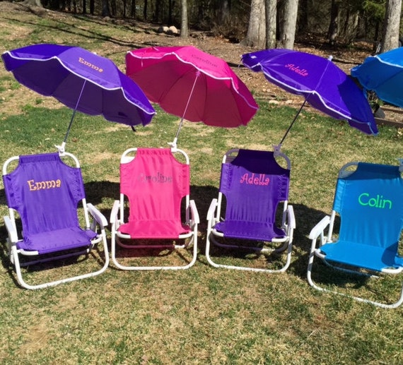 Childu0027s PERSONALIZED Beach Chair With Umbrella. Sand Chair, Beach Chair, Folding  Chair, Child, Umbrella, Name, Initials, Monogram